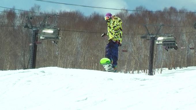 スノーボード、オーリー、引き上げ
