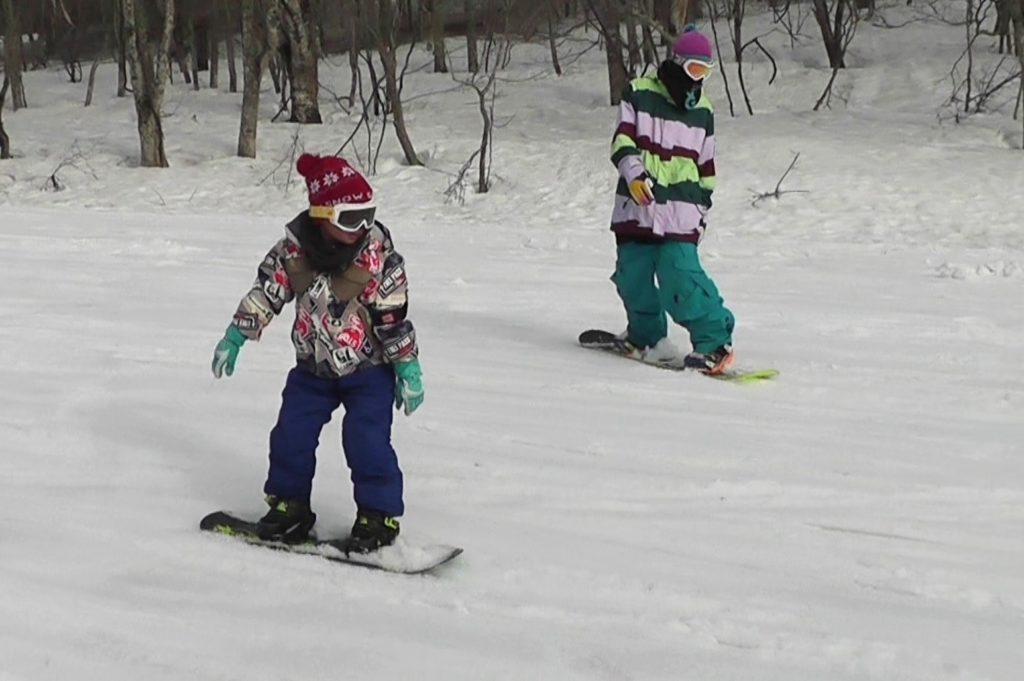 親子でスノーボード
