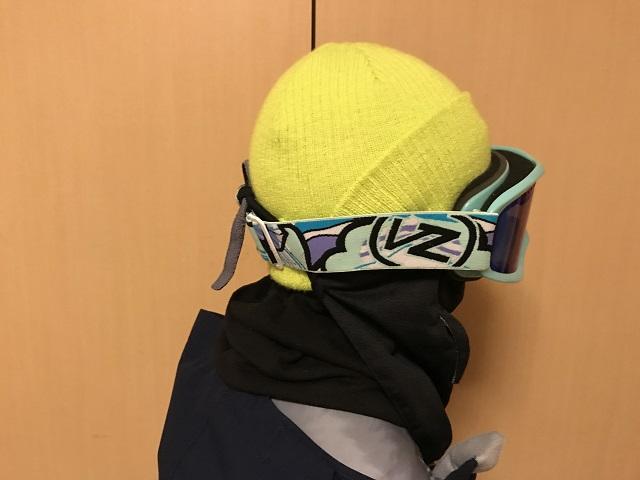 スノーボード、フェイスマスクの着用