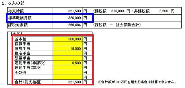 収入の部(傷病手当金算出表)