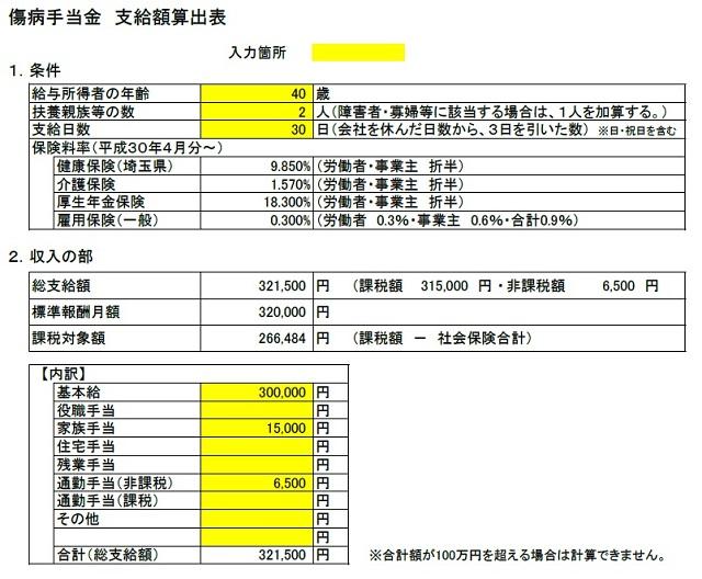 傷病手当金 支給額算出表(条件・収入の部)