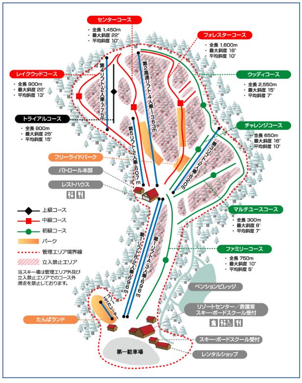 たんばらスキーパーク コースマップ