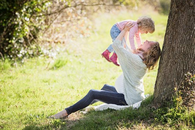 ママ、子ども、公園、親子
