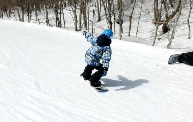 スノーボードのオーリーの練習初日1