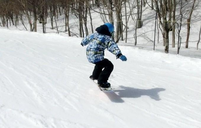 スノーボードのオーリーの練習初日3