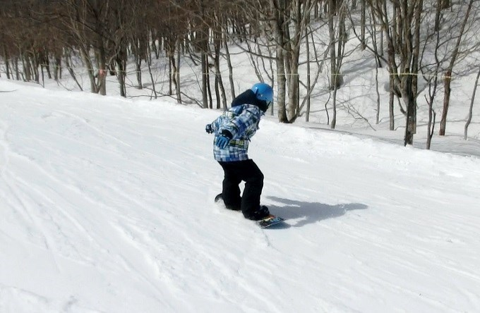 スノーボードのオーリーの練習初日5