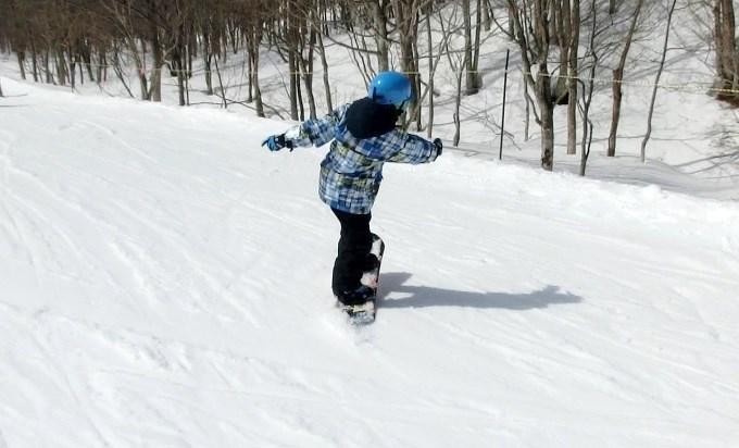 スノーボードのオーリーの練習初日2